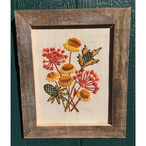 VTG Floral Crewel Embroidery In Barn Wood Frame